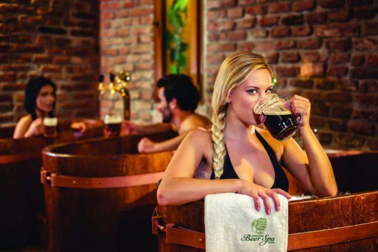 Girl in Beer Spa Tub